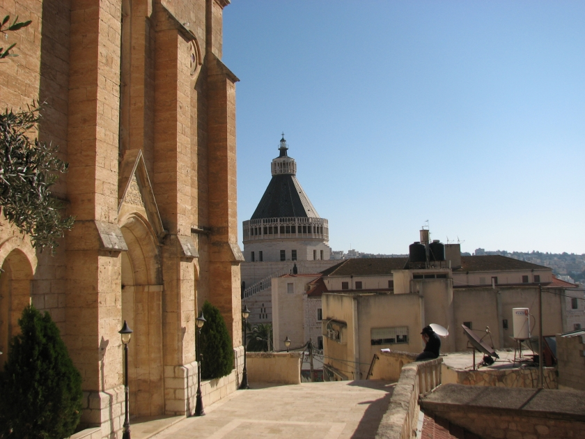 Basilica of the Annunciation (Nazareth) as seen from Christ Church Anglican, Duane Miller 2011