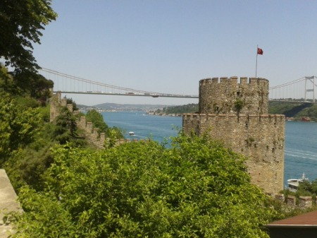 View of the Bosphorus from Rumeli Hisari.